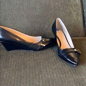 Nine West Gamella Stacked Wedge Heels black 6.5 6